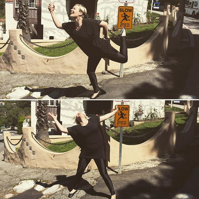 Slow - adults at play. 🏼🍾#slowdown #warningsign #trafficsign #funny #silly #humor #goofy #strikeapose #dancer #dancepose