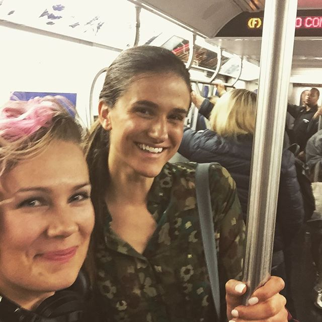 I met @victoriahenley in the subway. We were both looking for the right train to our performances. #americasnexttopmodel #antm #model #catwalk #fashion #nyc #train #subway #show