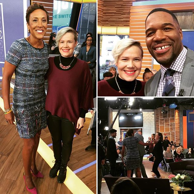 Good morning from Good Morning America with the hilarious Molly Shannon! #gma #abc #tv #bigsmiles #morningshow #selfie #nyc #tvstudio #mollyshannon #snl #actor #comedian #goodmorning #imnotamorningperson #haveagoodday @divorceonhbo @robinrobertsgma @michaelstrahan @tomkellyshow @goodmorningamerica @abcnetwork