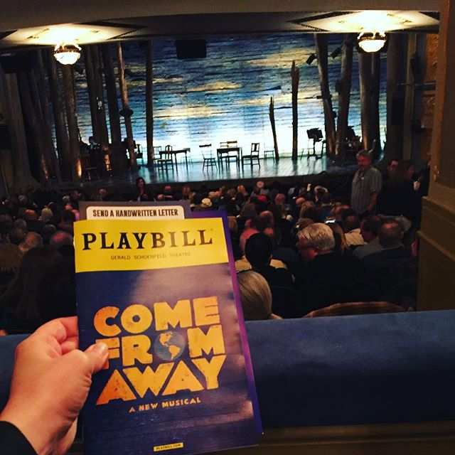 """This morning I thought that, since I was already in the neighborhood, I'd see if I could get rush tickets for """"Come From Away"""". And I got really lucky! After standing in line patiently for 45min, I got standing room tickets for $32/each. And I was just blown away by this brilliant show! It was entertaining, touching, historical, educational, beautiful and funny! Truly a work of art! With lights and only a few chairs and tables the stage transitioned from an airplane to a small town in Newfoundland and with just a few simple props this cast of 12 went from """"locals"""" to the """"plane people"""" changing accents and characters constantly with such perfection!!! #mustsee #amazing #newmusical #speechless #clever #impressive #911 #memorial #groundzero #newfoundland #anniversary #historical #broadway #nyc #plane #comefromaway #choreography #props #stage #transitions #accents #funny #entertaining #playbill #ilovedit #art #pieceofart #boxoffice #goodthingscometothosewhowait #standinginline"""