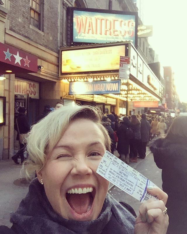 We did it! We got to see Sara Bareilles and Jason Mraz in the Waitress Musical together! Standing in line for 5 hours to get $32 standing room tickets was so worth it!! #stillstanding #lifehacks #discount #fans #crazyfan #sarabareilles #jasonmraz #waitressmusical #singersongwriter #amazing #broadway #musical #fabulous #performance #nyc #nycliving #standinginline #happy #persistence @sarabareilles @jason_mraz @waitressmusical