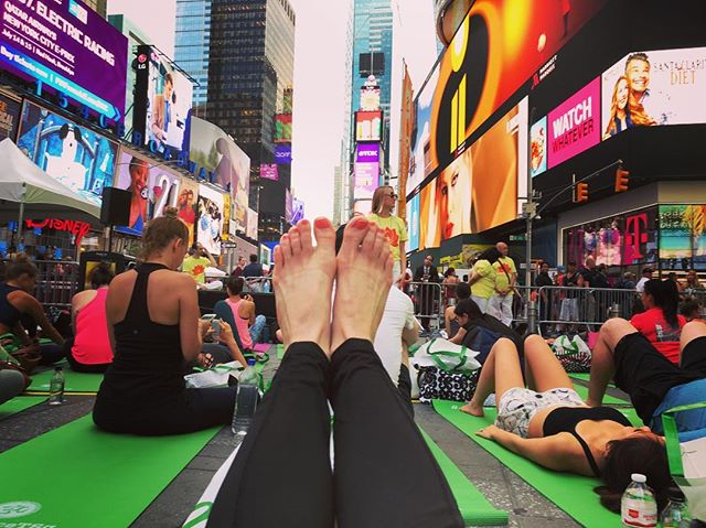 Summer Solstice yoga @timessquarenyc was a surprisingly serene experience. #yoga #namaste #calmdown